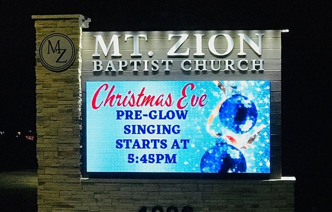 Completed Church Monument Sign With LED Sign
